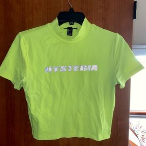 Neon green reflective Hysteria crop top